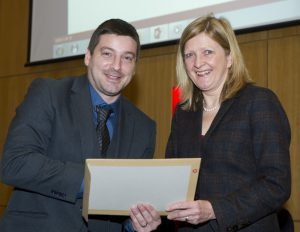 Gareth collecting his LEAN Fellowship from The Manufacturing Institute