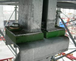 Farrat Squaregrip Plain Pad used to isolate a bolted connection on a steel support