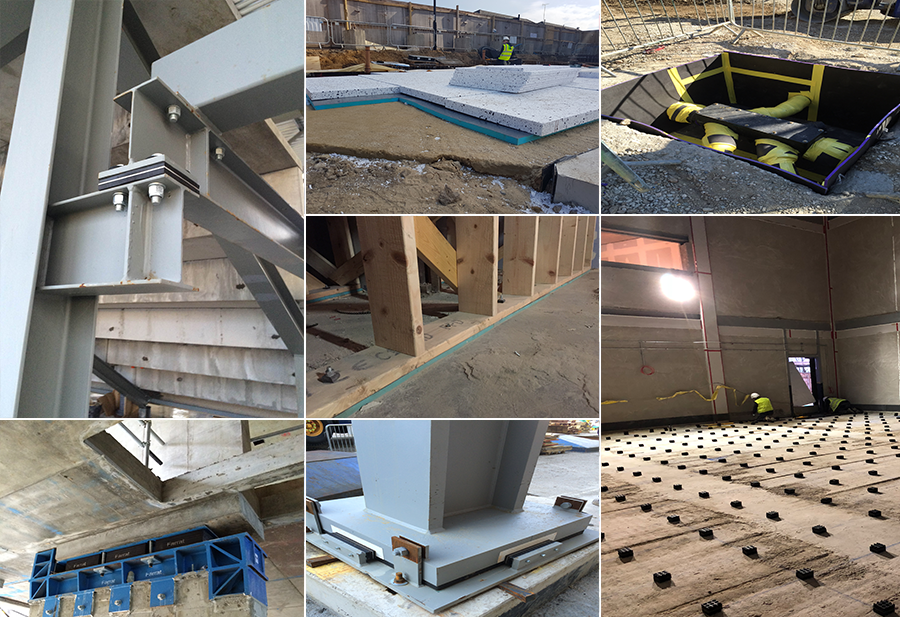 Farrat elastomeric materials can be used in a variety of construction applications