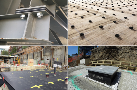 Farrat elastomeric materials used in buildings and structures