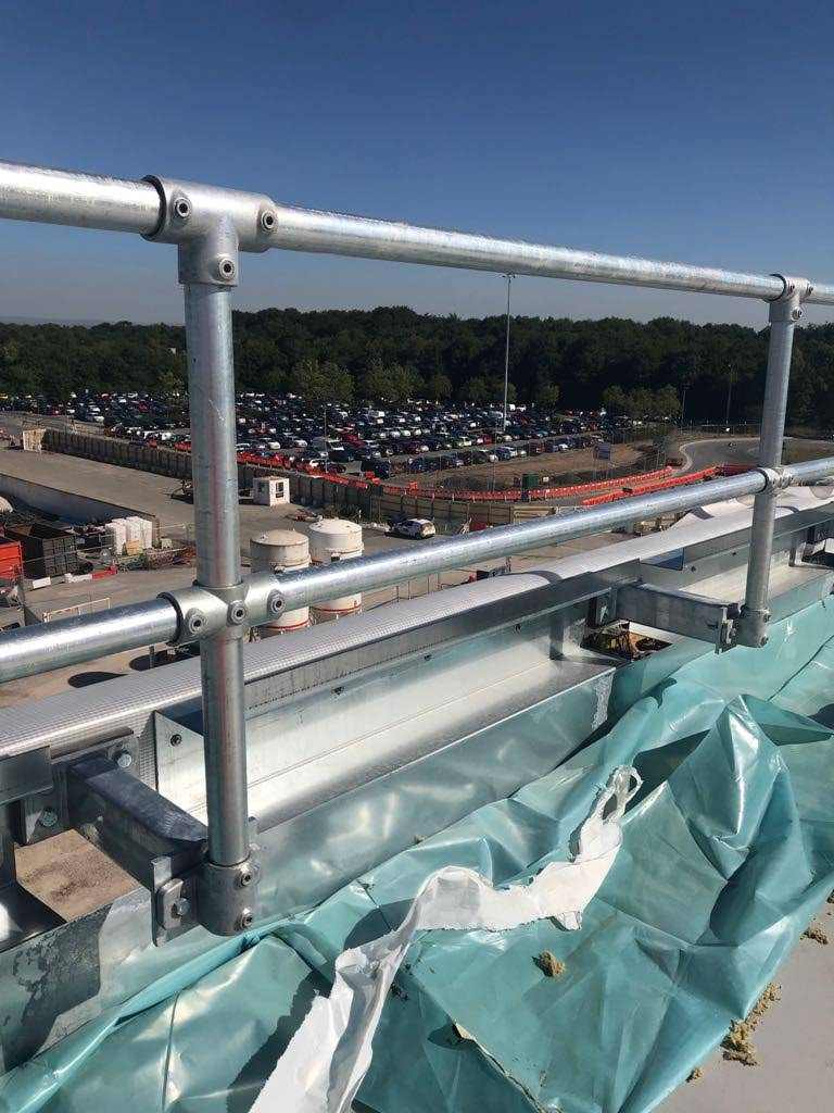 Manchester Airport Terminal 2 balustrade with Farrat Structural Thermal Breaks installed to prevent cold bridging