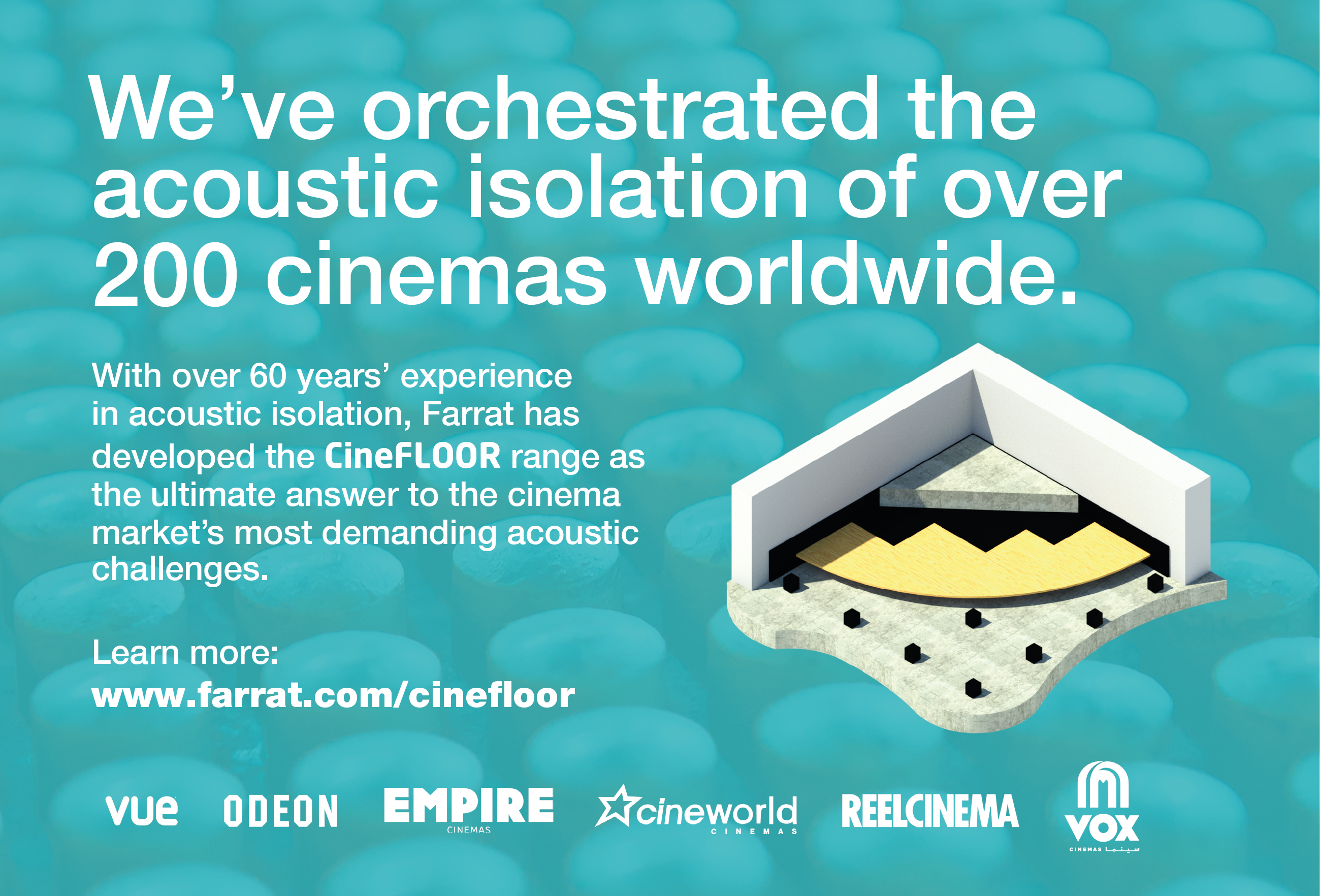 CineFLOOR is the new range of acoustic floating floors designed for Cinemas, from Farrat