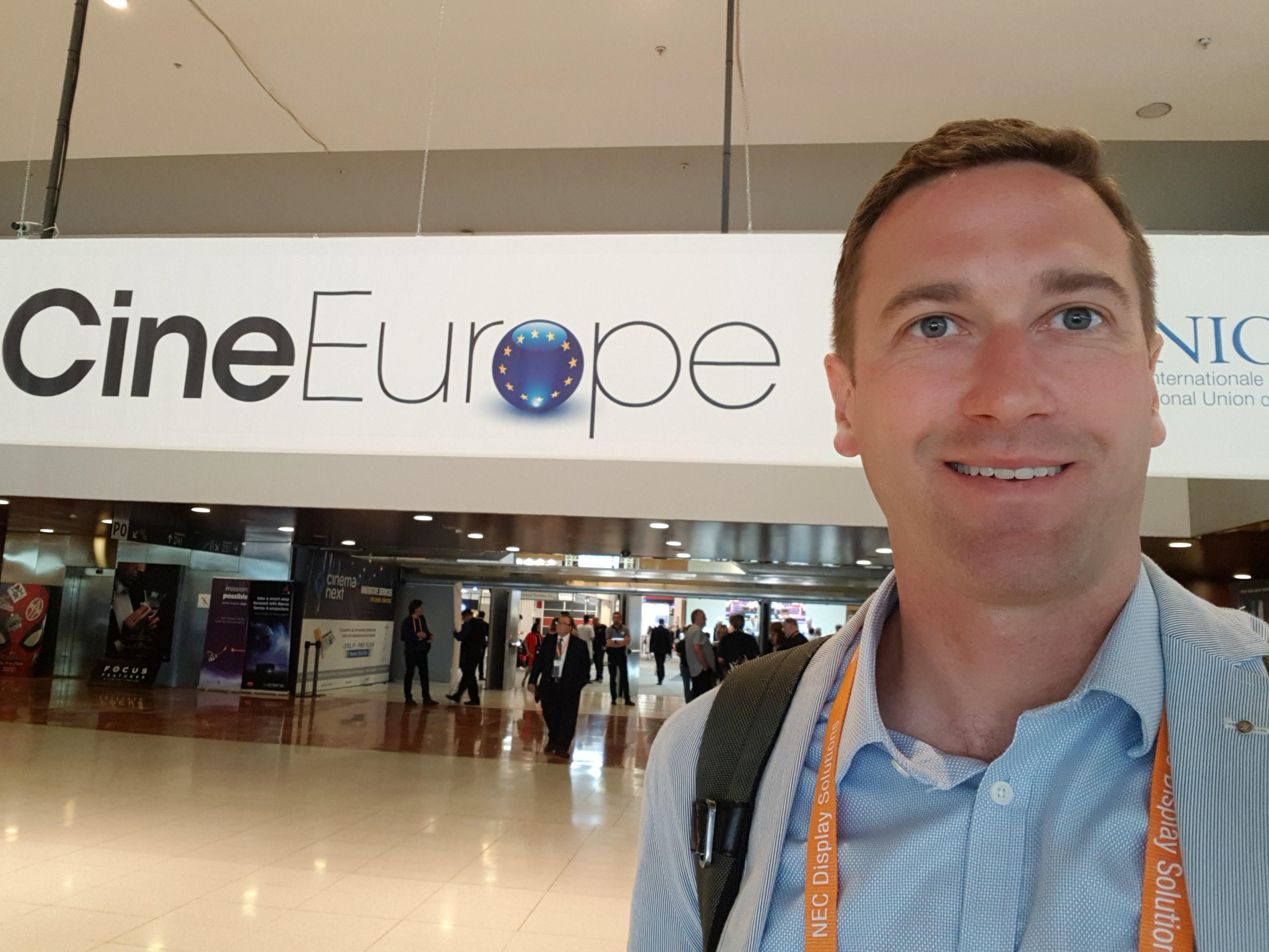 Farrat CEO Oliver Farrell at the CineEurope conference in Barcelona