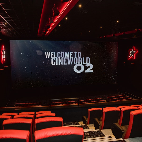 Cineworld O2 auditorium with welcome to Cineworld O2