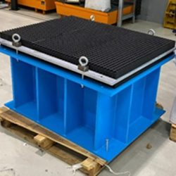 Replacement vibration isolation system - Bearing with Farrat Isomat on steel base